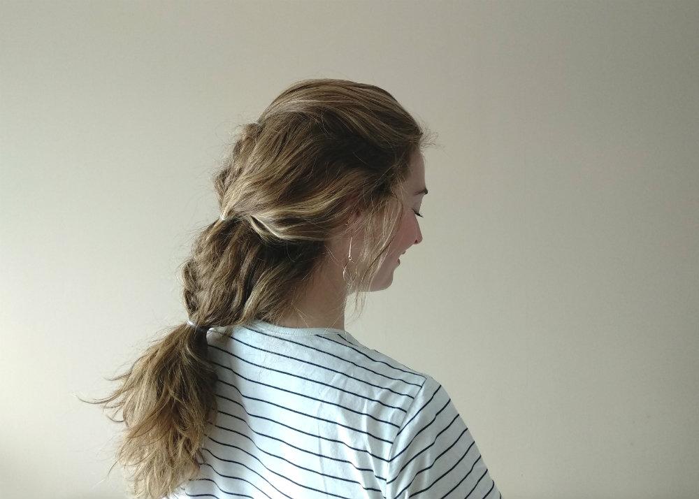 Peinado particiones cabello trenza de espiga